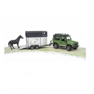 Voiture Land Rover avec van et cheval (Cotchat)