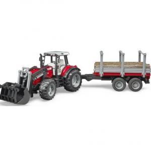 Tracteur Massey + remorque à bois